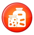 Jars with pickled vegetables and jam icon vector image