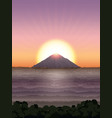 landscape with mountain and sun vector image vector image