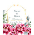 peony flowers watercolor frame delicate floral vector image vector image