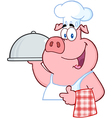 Pig chef holding a platter sign vector | Price: 1 Credit (USD $1)