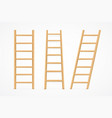 realistic detailed 3d wooden ladder set vector image vector image