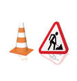 road sign road repair and safety cones vector image