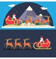 Santa Claus Sleigh Reindeer Gifts Winter Snow vector image