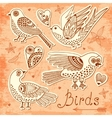 set birds and hearts vector image vector image