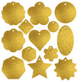 set of golden glittering labels and bubble over vector image