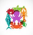 set seafood symbols vector image