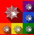 spider on web set of icons vector image