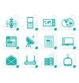 stylized communication and business icons vector image vector image