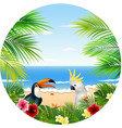 summer card with tropical plant and bird vector image vector image