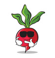 super cool radish character cartoon collection vector image vector image