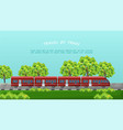 train traveling beautiful green vector image vector image
