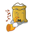 with trumpet flour mascot cartoon style vector image vector image