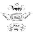 world music day hand draw doodles vector image