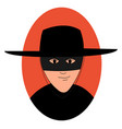 zorro with mask on white background vector image
