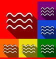 waves sign set of icons with vector image