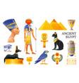 ancient egypt icon set 3d ra sun god nefertiti vector image