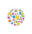 background with happy outline icons vector image