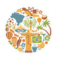 brazil travel sightseeing icons and vector image vector image