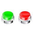 Buttons Red and green plastic button with metal vector image vector image