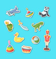 cartoon children toys stickers set vector image