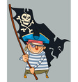 Cartoon pirate with a shiner holding a pirate flag vector image vector image