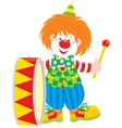 Circus clown drummer vector image vector image