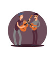 classic guitaists cartoon characters flat vector image