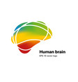 colorful brain shape logo concept with text vector image