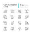 communication skills linear icons set vector image vector image