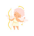 cute boy cupid with nimbus and wings with bow and vector image vector image
