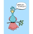 Cute cartoon bird with a speech bubble vector image