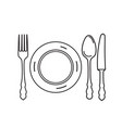 cutlery set plate fork knife spoon icon design vector image