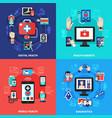 Digital health gadgets flat concept