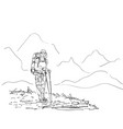drawing girl backpacker hiking in mountains vector image vector image