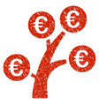 euro money tree icon grunge watermark vector image vector image