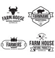 farmers market logos templates objects set vector image vector image