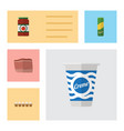 flat icon eating set of spaghetti ketchup yogurt vector image vector image