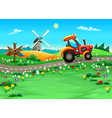 Funny landscape with tractor on the road vector image vector image