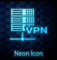 glowing neon server vpn icon isolated on brick vector image vector image