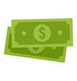 green dollar banknote icon flat style vector image