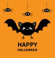 happy halloween spider set flying cute vector image vector image
