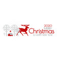 happy new 2020 year christmas flyer with reindeer vector image