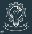 High quality light bulb with a cog wheel vector image
