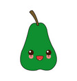 kawaii pear fruit fresh natural food cartoon vector image