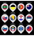 Map marker with flag-set twelfth vector image vector image