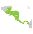 map of central america region with green