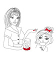 Mother giving her daughter cough medicine vector image