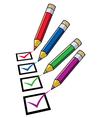 pencils and checklist vector image vector image