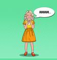 pop art cheerful girl drinking milk vector image vector image