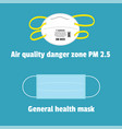 protective mask for air quality danger zone vector image vector image